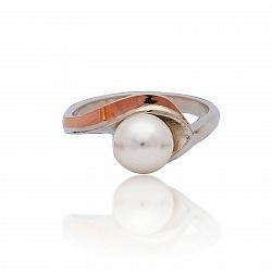 Серебряное кольцо Ольга с золотой накладкой и жемчугом