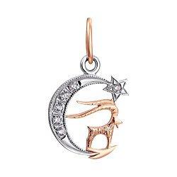 Золотой кулон знак Зодиака Козерог на луне с фианитами 000013762
