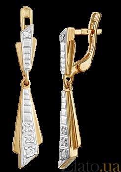 Позолоченные серьги-подвески из серебра с фианитами Альфидия SLX--С3Ф/044