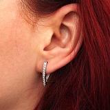 Серебряные серьги Виктория с белым цирконием на лицевой и внутренней стороне