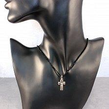 Золотое колье Крест с черными агатом и фианитами