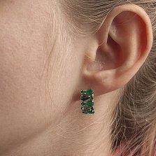 Серебряные серьги Кларисса с зелеными агатом и кварцем