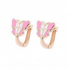 Детские золотые серьги Легкие бабочки с розовой и белой эмалью
