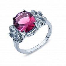 Серебряное кольцо с вишневым цирконом Гардения