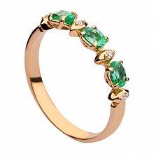Золотое кольцо с изумрудами и бриллиантами Ростислава