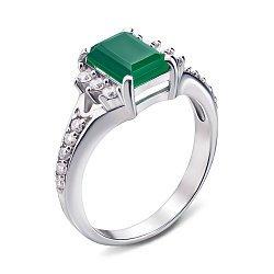 Серебряное кольцо Дария с зеленым агатом и фианитами 000011217
