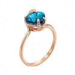 Золотое кольцо Лидия в красном цвете с сердечком - голубым топазом и фианитами