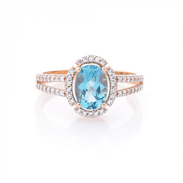 Золотое кольцо Лейла в красном цвете с голубым топазом и белыми фианитами 000082319