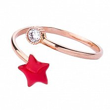 Золотое кольцо с цветной эмалью и фианитом Звездочка