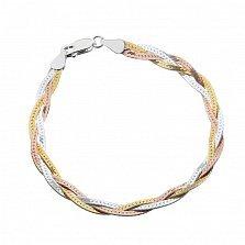 Серебряный браслет Луанда с позолотой, 5 мм