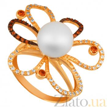 Кольцо из желтого золота с жемчугом и цирконием Азалия VLT--TT1189
