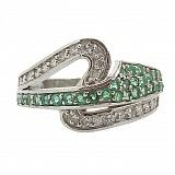 Серебряное кольцо с бриллиантами и изумрудами Танис