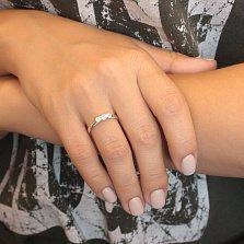 Серебряное кольцо Жаклин с тремя кристаллами Swarovski