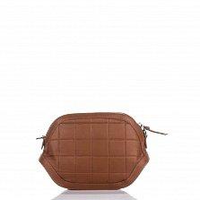 Кожаный клатч Genuine Leather 1404 коньячного цвета с застежкой-молнией
