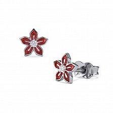 Серебряные серьги-пуссеты Незабудка с красной эмалью и фианитами