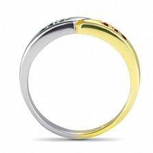 Кольцо Двойная удача в белом и желтом золоте с синтезированными изумрудами и рубинами