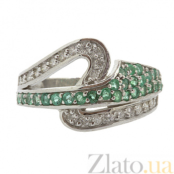 Серебряное кольцо с бриллиантами и изумрудами Танис ZMX--RDE-6505-Ag_K