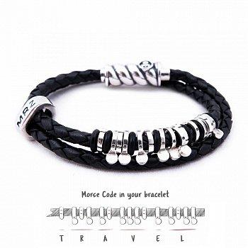 Кожаный браслет со словом Travel из серебра азбукой Морзе 000050068