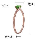 Кольцо из красного золота с перидотом Аманда
