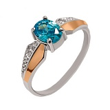 Серебряное кольцо с золотыми вставками и фианитами Версаль