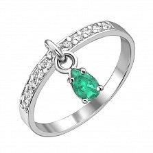 Серебряное кольцо с цирконием и  изумрудом Event