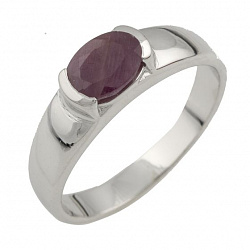 Серебряное кольцо Келли с рубином