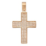 Крестик в красном золоте Доверие с фианитами
