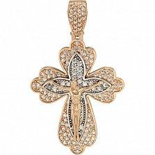 Золотой крестик Торжество веры с фианитами
