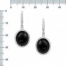 Серебряные серьги-подвески Констанция с ониксом и фианитами