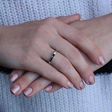Золотое кольцо Элегия в белом цвете с кристаллом Swarovski