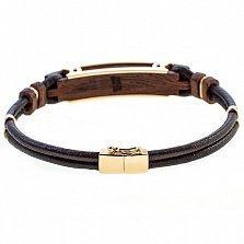 Кожаный браслет Такт с золотом, эбеновым деревом и бриллиантом