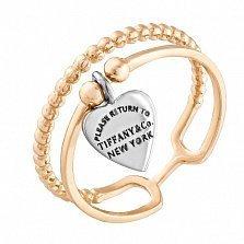Золотое кольцо Любимое с двойной шинкой и родированной подвеской-сердцем в стиле Тиффани