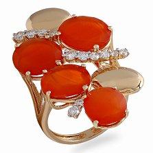 Кольцо в красном золоте Вишневый сад с халцедонами и бриллиантами