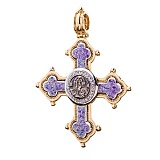 Золотой крестик Святой лик с эмалью и фианитами