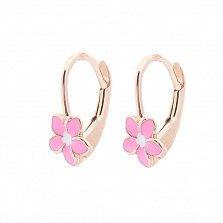 Золотые серьги Сказочная магнолия с розовой и белой эмалью