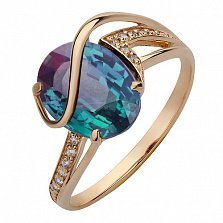 Золотое кольцо Килия с синтезированным александритом и фианитами
