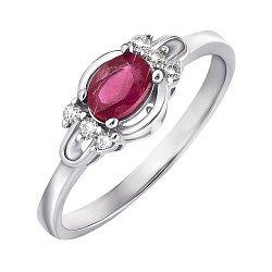 Серебряное кольцо с рубином и фианитами 000132120