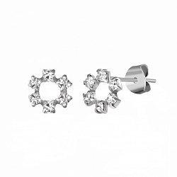 Серебряные серьги-пуссеты с ювелирным стеклом и родием 000102792
