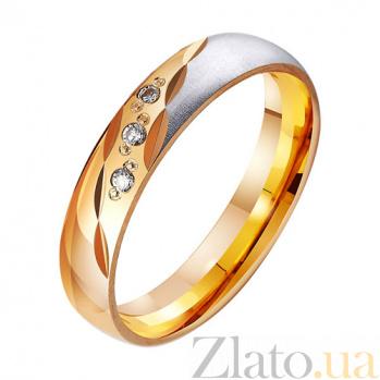 Золотое обручальное кольцо с фианитами Вечное чувство TRF--412233