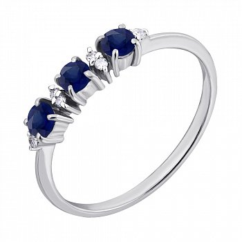 Серебряное кольцо с бриллиантами и сапфирами 000022158