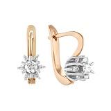 Золотые серьги Астарта в комбинированном цвете с бриллиантами