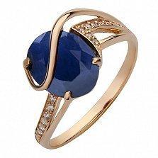 Золотое кольцо Килия с сапфиром и фианитами