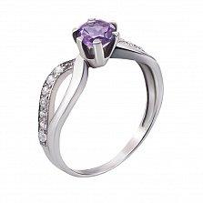 Серебряное кольцо Дина с узорной шинкой, аметистом и фианитами