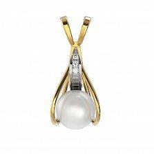 Золотой подвес Клэр в комбинированном цвете с белым жемчугом и бриллиантами