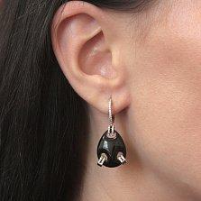 Серебряные серьги-подвески Триплет с крупным черным ониксом и фианитами