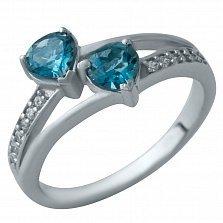 Серебряное кольцо Эрнестина с топазом лондон и фианитами