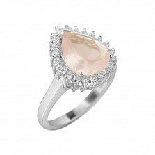 Серебряное кольцо Фелиция с розовым кварцем и фианитами