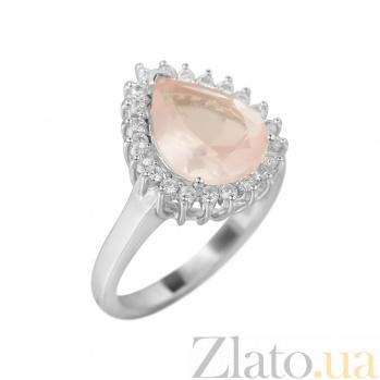 Серебряное кольцо Фелиция с розовым кварцем и фианитами 000081592