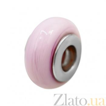 Серебряный шарм Ягодный коктейль с розовым муранским стеклом 000081722