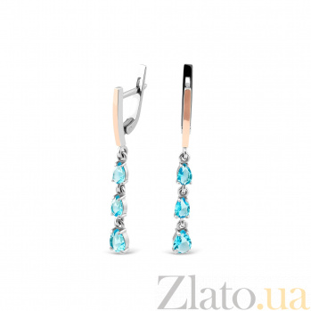 Серебряные серьги-подвески Афродита с золотыми вставками и голубым алпанитом 000082140